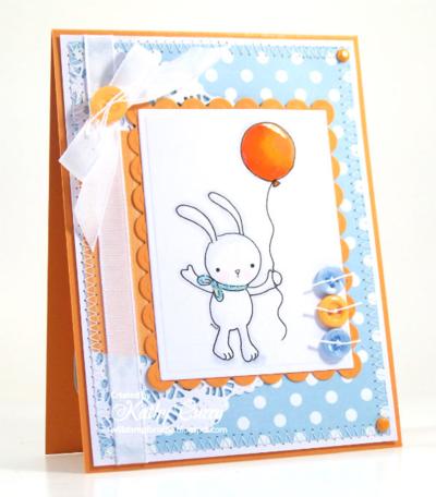 Balloon Bunny card by kathy